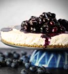 No-Bake Blueberry Goat Cheese Cheesecake with Gingersnap Crust